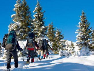Trekking pe munte, pe zăpadă. FOTO Facebook / Mountain Trekking